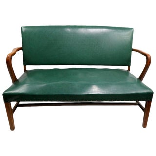 Upholstered Bench Attributed to Gunlocke For Sale