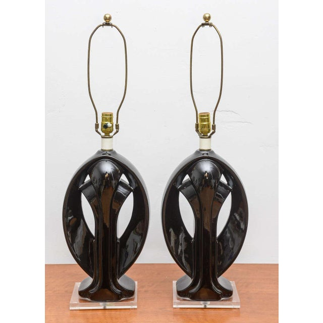 Modern Ceramic and Lucite lamps, USA, 1950s For Sale - Image 3 of 9