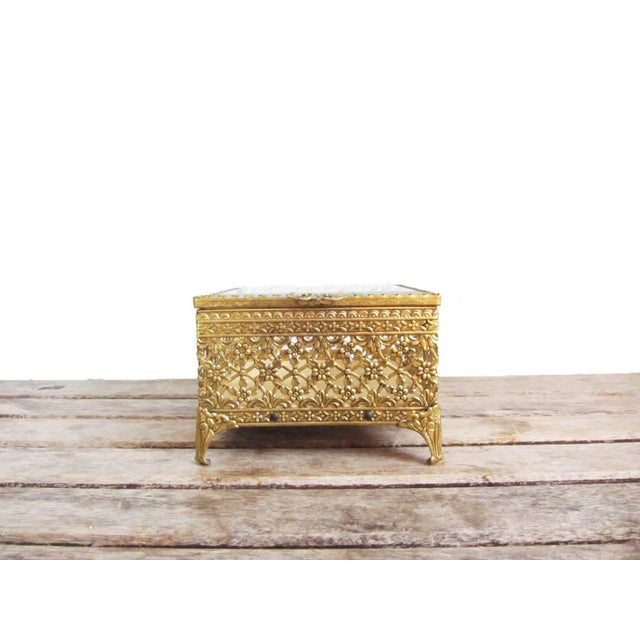 Vintage Gold Ormolu Jewelry Casket Ring Box For Sale - Image 5 of 9
