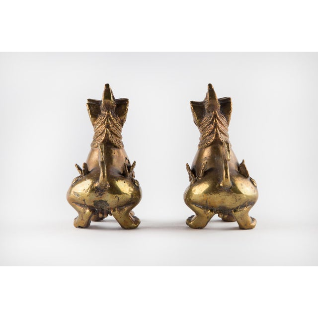 1970s Solid Brass Thai Foo Dogs For Sale - Image 5 of 9