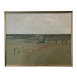 "Late 20th Century ""Old Road in the Flint Hills of Kansas"" Modern Landscape Oil Painting by Frank McCoy, Framed For Sale"