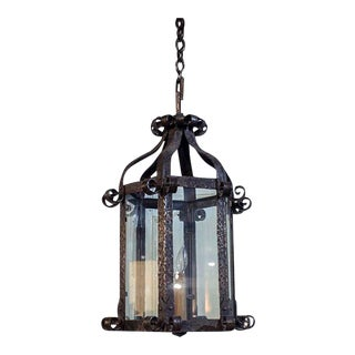 French Iron Lantern With Scroll Work For Sale