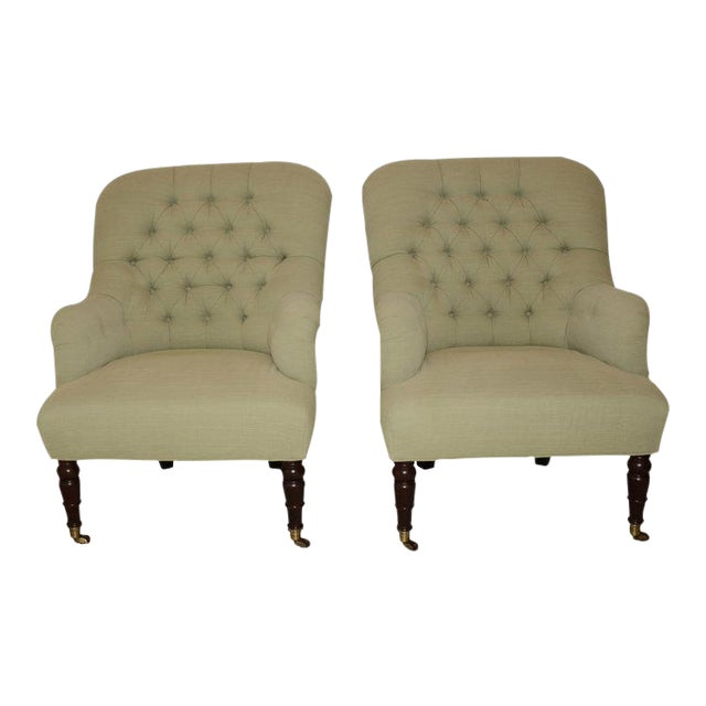 Upholstered Fern Green Tufted Chairs - A Pair - Image 1 of 7