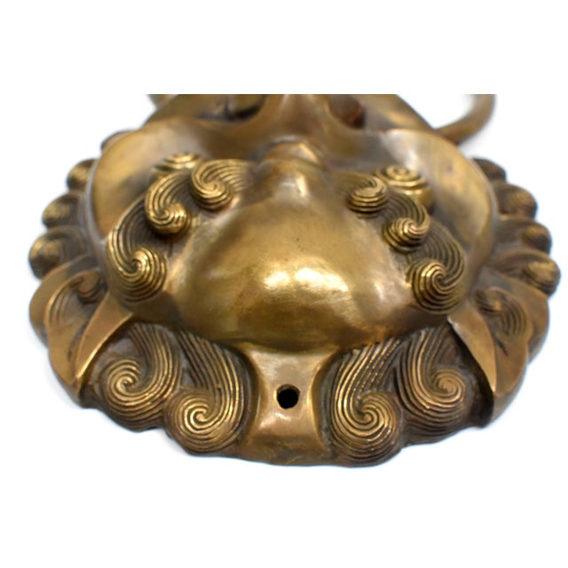 Asian Pair Vintage Lion Brass Knockers Medium Size For Sale - Image 3 of 13