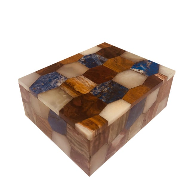 Traditional Antique Russian Hexagonal Precious Stones Box For Sale - Image 3 of 8