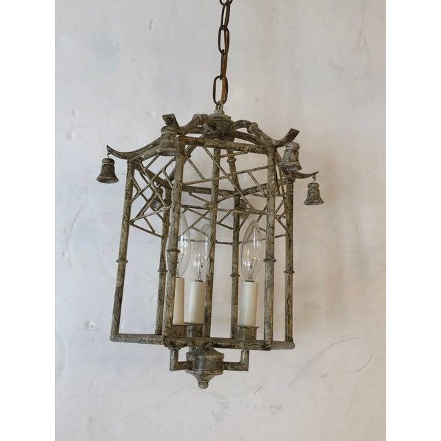 Hollywood Regency Pagoda Style Iron & Tole Lantern Pendant Chandelier For Sale - Image 3 of 9