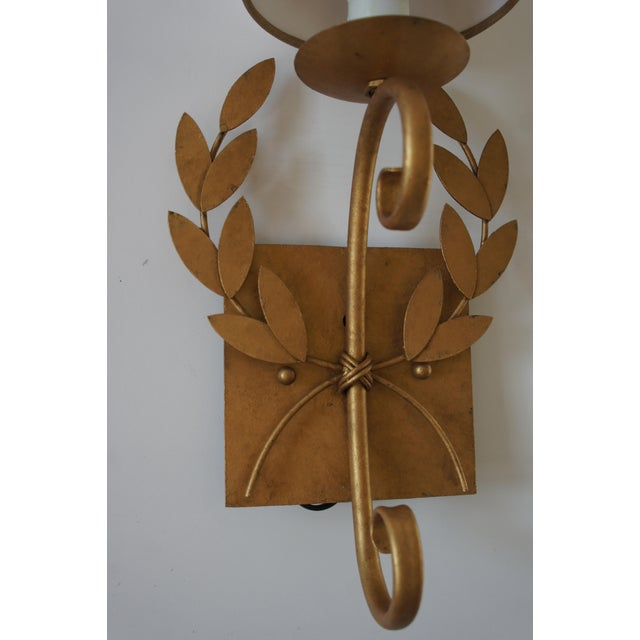 White Julie Neill Gilt Metal Wreath Sconce For Sale - Image 8 of 11