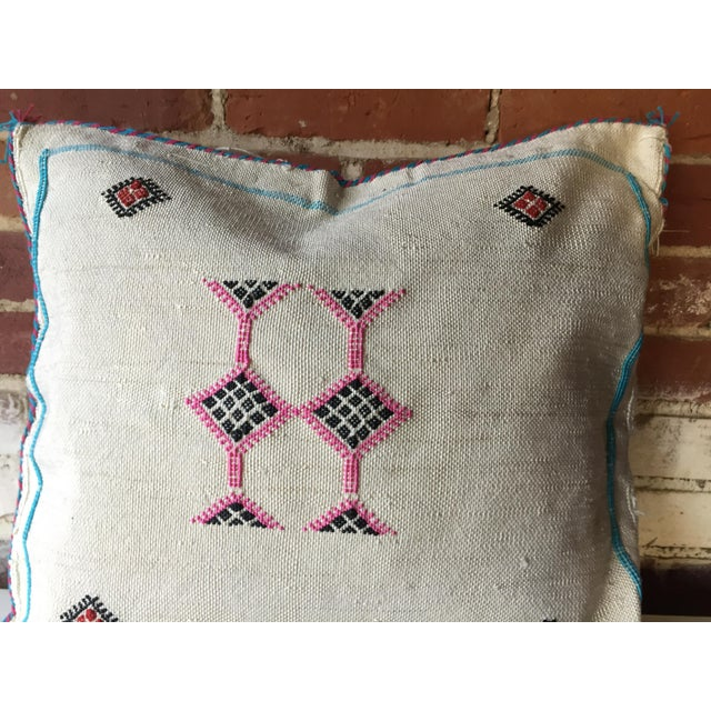 White & Pink Cactus Silk Pillow Cover - Image 4 of 6