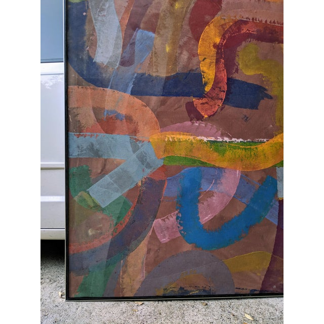 """1980s 81"""" Oversize Framed Oil on Canvas Abstract Painting For Sale - Image 5 of 13"""