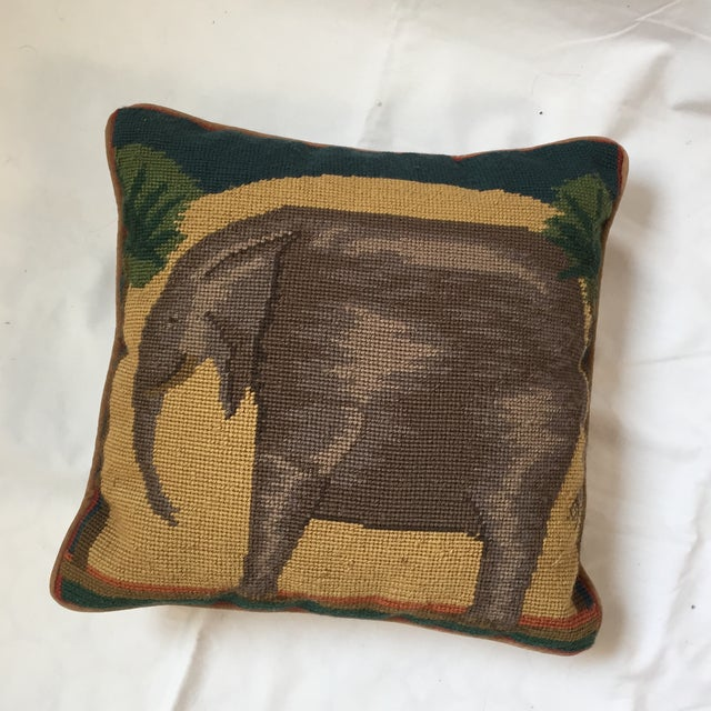 Needlepoint Elephant Accent Pillow - Image 2 of 7