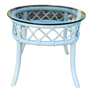 Beautiful Vintage Robin's Egg Blue Painted Rattan Side Table For Sale