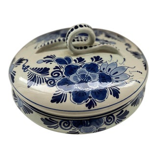 1980s Delft Blue and White Lidded Dish For Sale