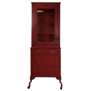 Red Painted Medical Cabinet