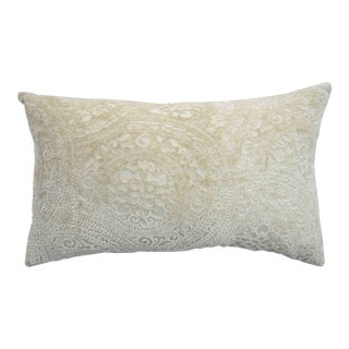 FirmaMenta Italian Cream Lace Linen Velvet Lumbar Pillow For Sale
