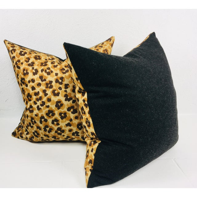 Italian Faux Leopard Cotton Print Pillows- a Pair For Sale - Image 3 of 3