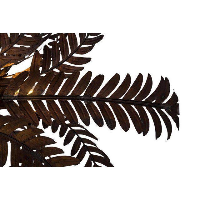Metal Maison Jansen Style Palmtree Table Lamp in Copper For Sale - Image 7 of 10