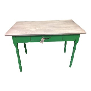 Vintage Green Painted Cottage Table For Sale