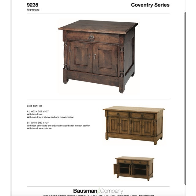 Bausman & Company English Nightstand With Inlaid Plank Top For Sale - Image 12 of 13