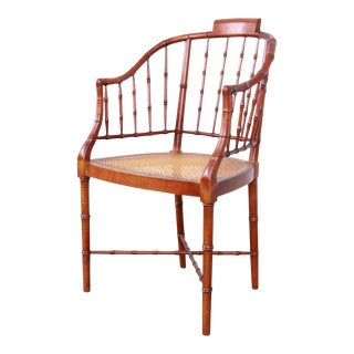 Baker Furniture Regency Faux Bamboo and Cane Armchair, 1960s For Sale