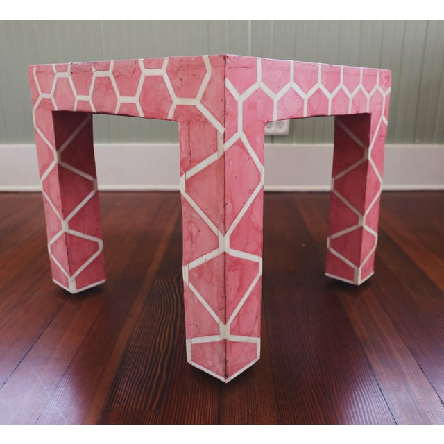 Bone Antique Pink Clay Bone Inlay Honeycomb Side Table For Sale - Image 7 of 9