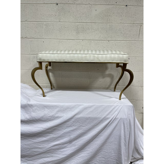 Italian Brass Upholstered Bench For Sale - Image 4 of 13