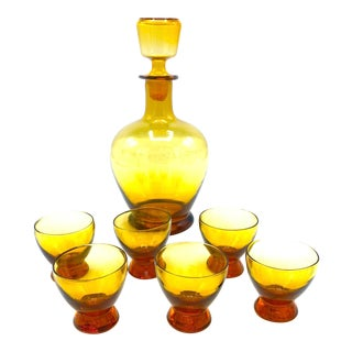 Vintage Mid-Century Hand Blown Glass Amber Decanter With Small Glasses - 7 Piece Set For Sale