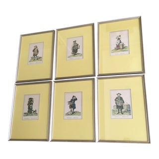 Vintage Framed Viennese Costume Prints - Set of 6 For Sale