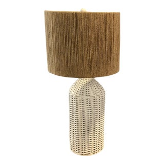 Vintage Wicker Rattan Hollywood Regency Table Lamp With Jute Shade For Sale