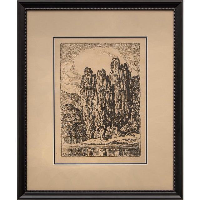 """1923 Birger Sandzen """"Pond With Poplars"""" Original Signed Framed Lithograph For Sale"""