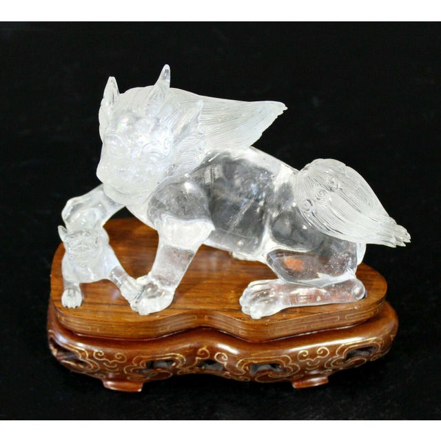 Chinese Chinese Rock Crystal Glass Fu Dog Statuette Wood Base Table Sculpture For Sale - Image 3 of 11
