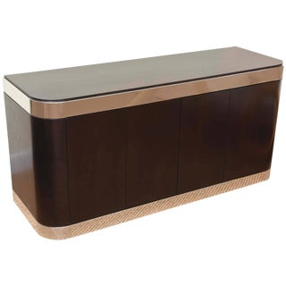 Pace Stainless Steel And Ebonized Cabinet/Credenza For Sale