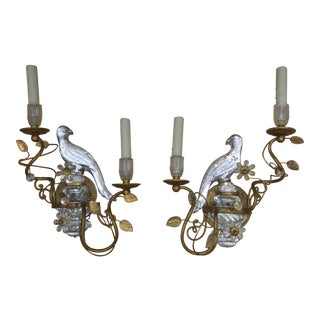 Bagues Style Gilt Crystal Parrot Bird Sconces - a Pair