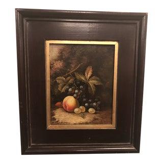 1980s Framed Fruit Still Life Oil on Canvas Painting For Sale