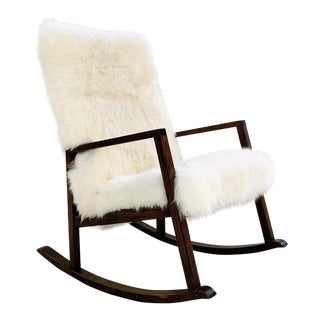 Vintage Harvey Probber Rocking Chair Restored in Brazilian Sheepskin For Sale