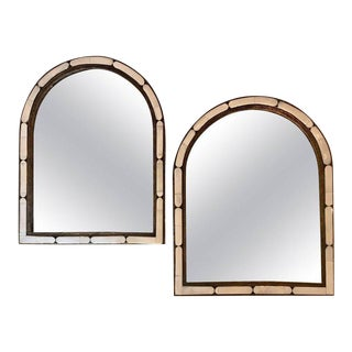 Large Hollywood Regency Style Moroccan White Camel Bone Mirrors - a Pair