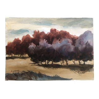 2018 Dh Morris Trees in Grassland Watercolor Painting For Sale