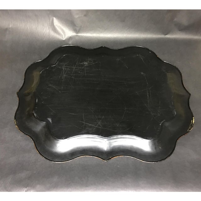 Vintage Tole Tray Black With Hand Painted Floral Design For Sale In Washington DC - Image 6 of 8