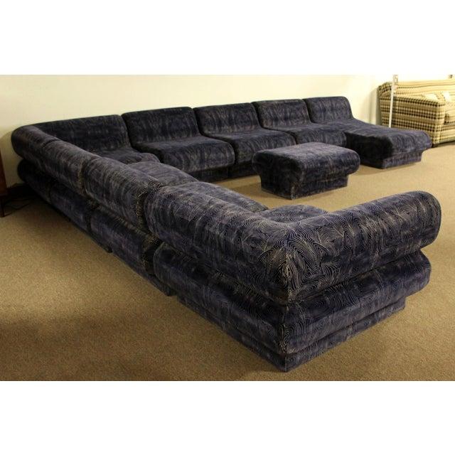 Mid Century Modern 9 Pc Modular Serpentine Blue Velvet Sectional Sofa By Kagan