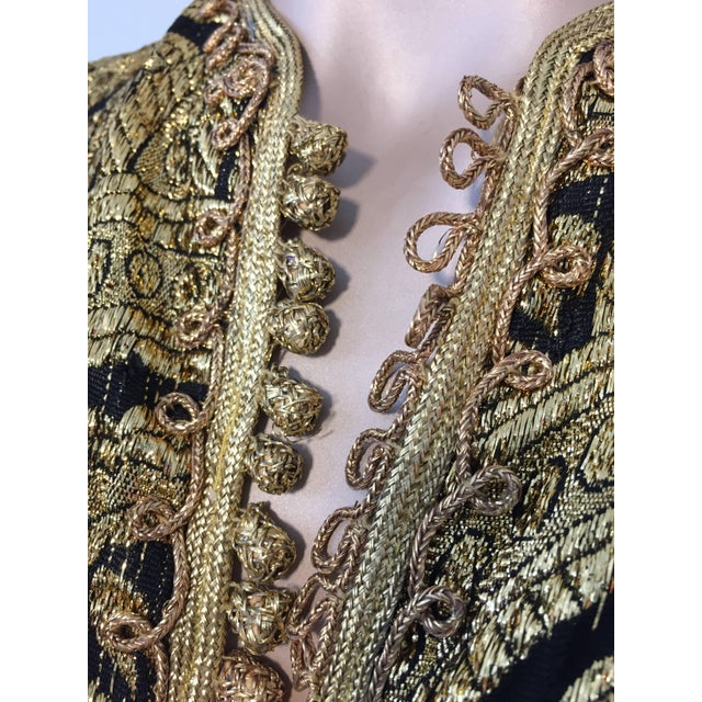 Islamic Moroccan Gold and Black Brocade Short Vest Caftan For Sale - Image 3 of 10
