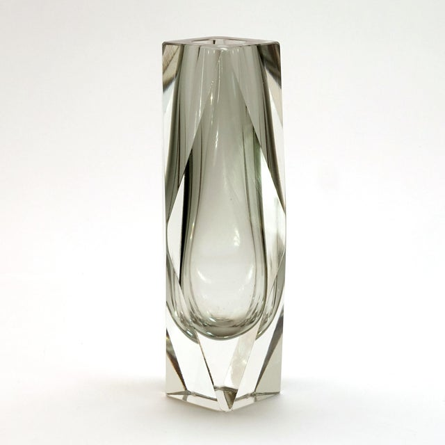 Mid-Century Modern Murano Gray Faceted Cased Glass Block Vase Sculpture For Sale - Image 3 of 8