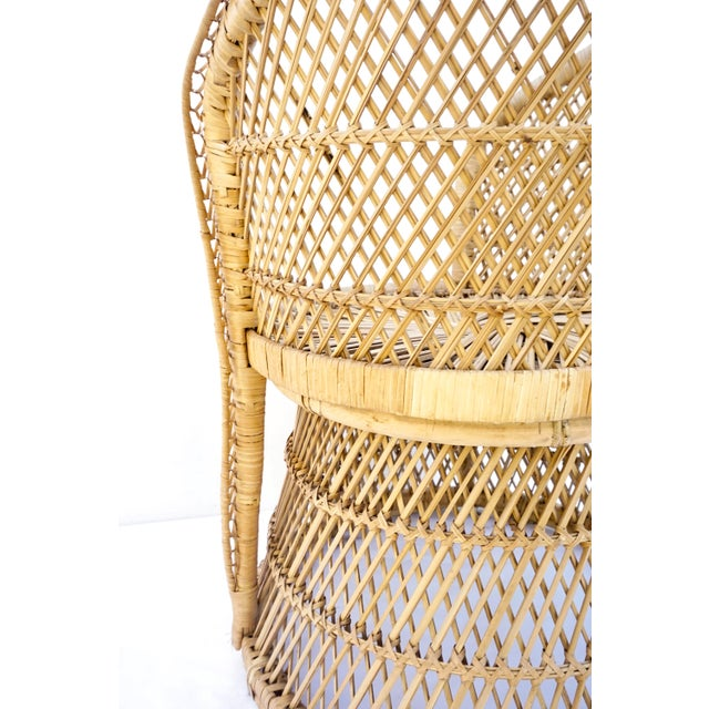 Tan Vtg Mid-Century Mehitabel Furniture Co. Natural Woven Rattan Peacock Barrel Chair | Mid-Century Boho Furniture For Sale - Image 8 of 12