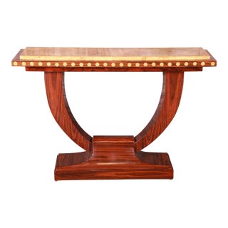 French Art Deco Rosewood and Burled Olive Wood Console Table, For Sale