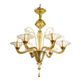Large Olive-Tinted Glass Chandelier For Sale