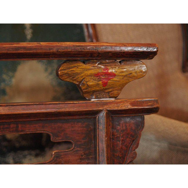 Late 19th Century Antique Chinese Shanxi Province Painted Elm Bench, circa 1860 For Sale - Image 5 of 8