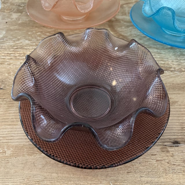 Boho Chic Colorful Vintage Glass Dessert Bowls and Saucers For Sale - Image 3 of 12
