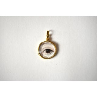 Contemporary Lover's Eye Painting by S. Carson in an Antique French Pendant Locket- 2 Sided Preview