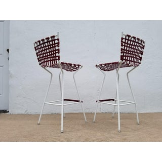 Vintage Italian Red Vinyl Strap Bar Stools - a Pair Preview