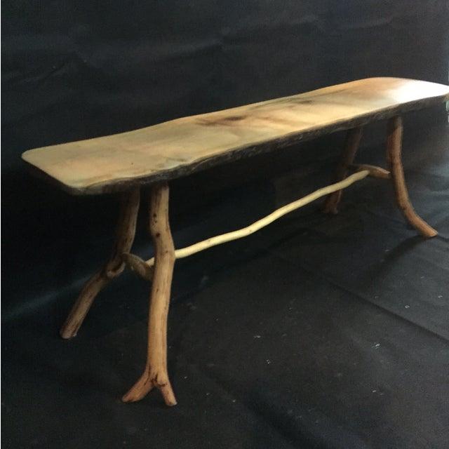 Handmade Rustic Natural Pine Bench - Image 7 of 7