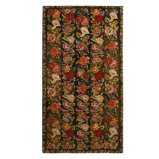 Antique Needlepoint Green Multicolor Wool Floral Rug 4′ × 7′5″ For Sale