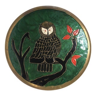 Mid Century Brass Encased Cloisonné Bowl With Owl in Tree For Sale